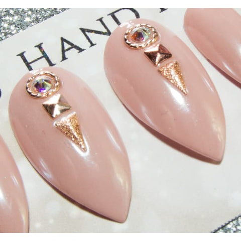 Rose Gold, Purple & White Embellished Press On Nails - All Nail Shapes