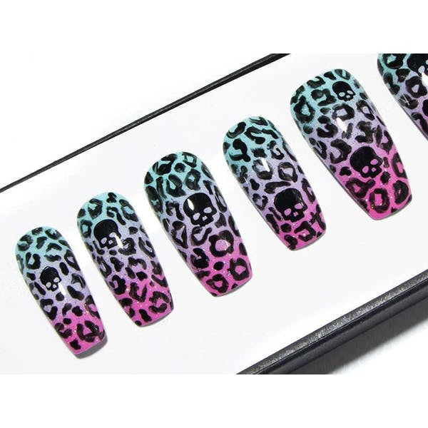 Pastel Goth Skull/Leopard Print - All Shapes False Nails
