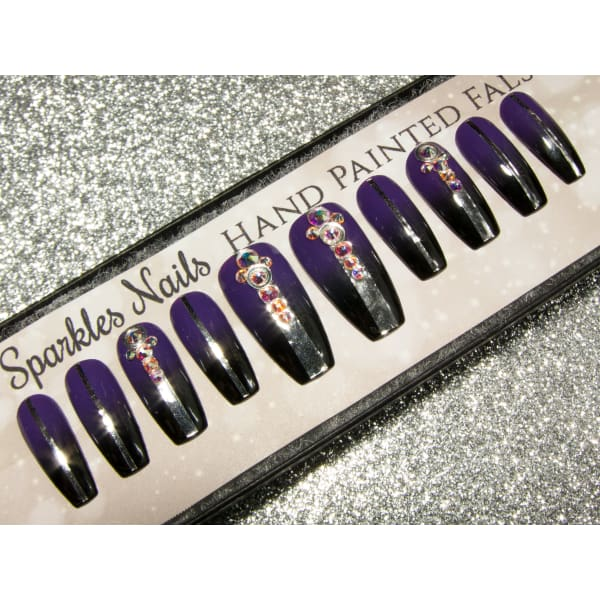 Purple Black & Silver Crystal Ombre Fantasy - All Shapes Sarah's Sparkles Nails False