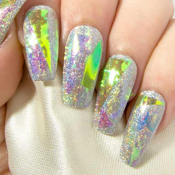 Rainbow Shattered Glass & Holographic Glitter - All Shapes Sarah's Sparkles Nails False