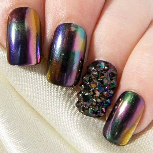 Rainbow Dark Chrome & Crystals - All Shapes False Nails