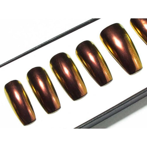 Red-Bronze-Gold Chrome - All Shapes False Nails