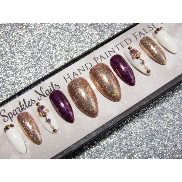 Rose Gold Purple & White Embellished Press On Nails - Any Shape False