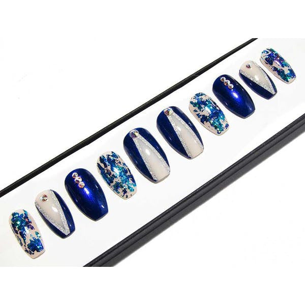 Royal Blue Peek-a-boo & AB Crystals - All Shapes False Nails