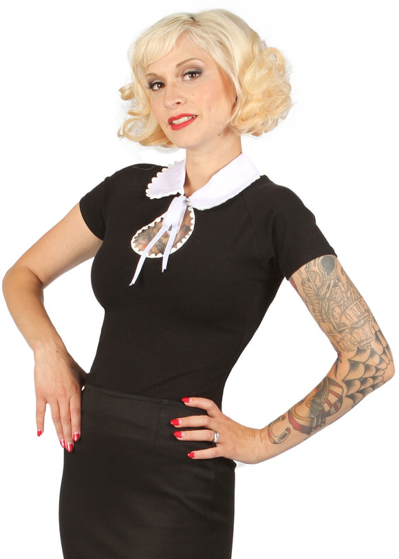 eye candy blouse black with white collar