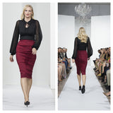 Mode Merr's Ruby Brocade Perfect Skirt on the runway at Style Week Northeast