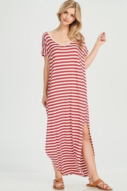 Abigail Red Striped T-Shirt Maxi Dress - DRESSES - Affordable Boutique Fashion