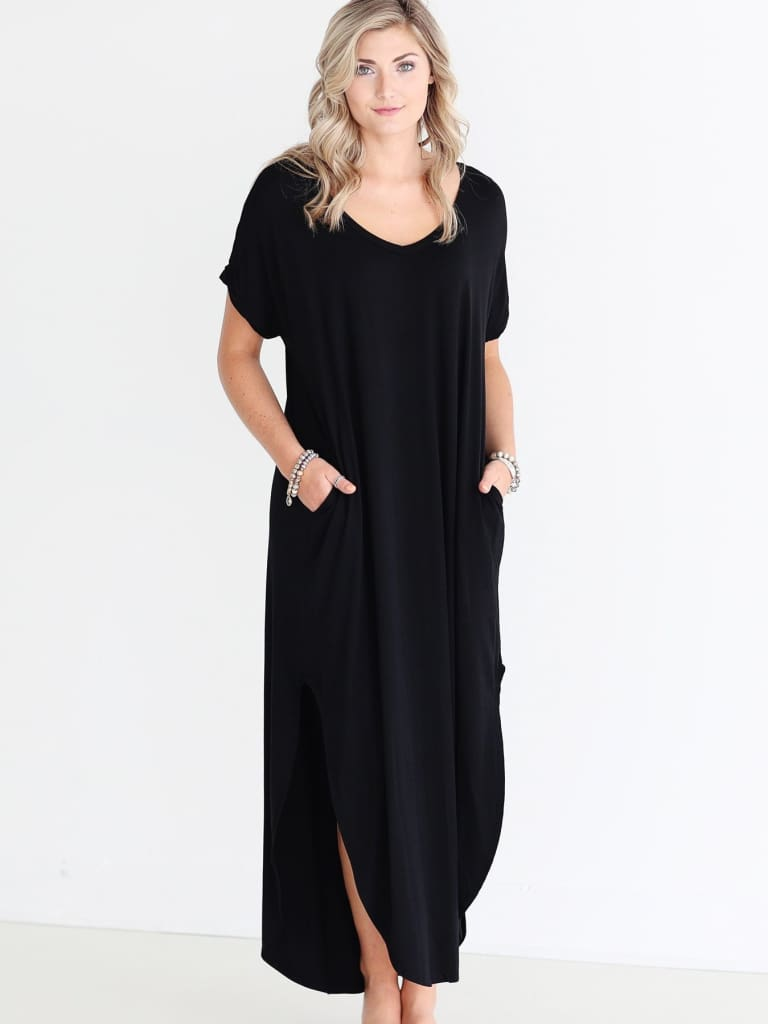 Abigail T-Shirt Pocket Maxi Dress | Black - DRESSES - Affordable Boutique Fashion