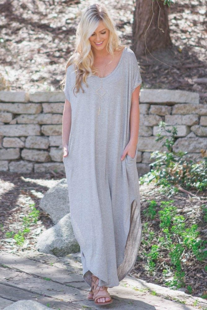 Abigail T-Shirt Pocket Maxi Dress | Heather - DRESSES - Affordable Boutique Fashion