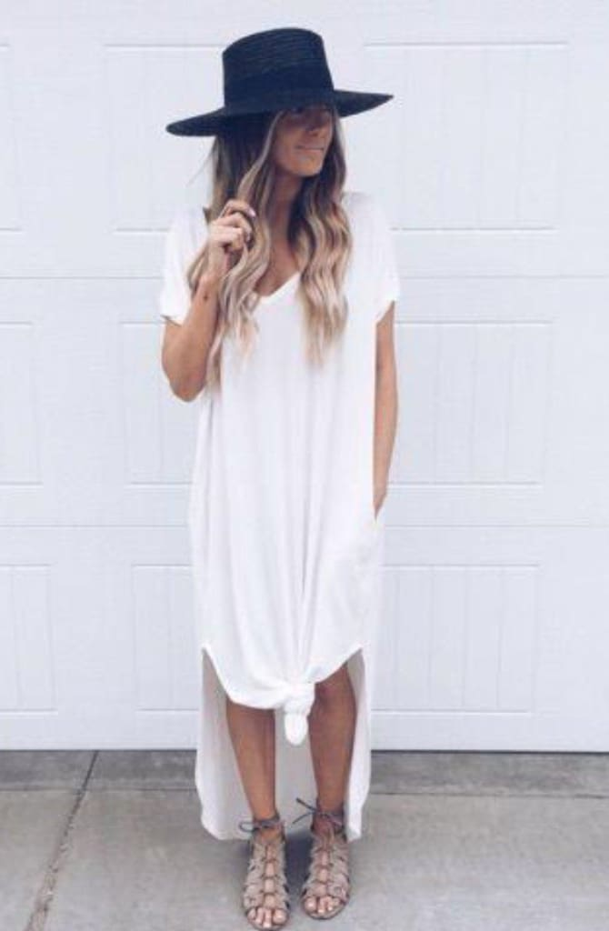 Abigail White T-Shirt Pocket Maxi Dress - DRESSES - Affordable Boutique Fashion