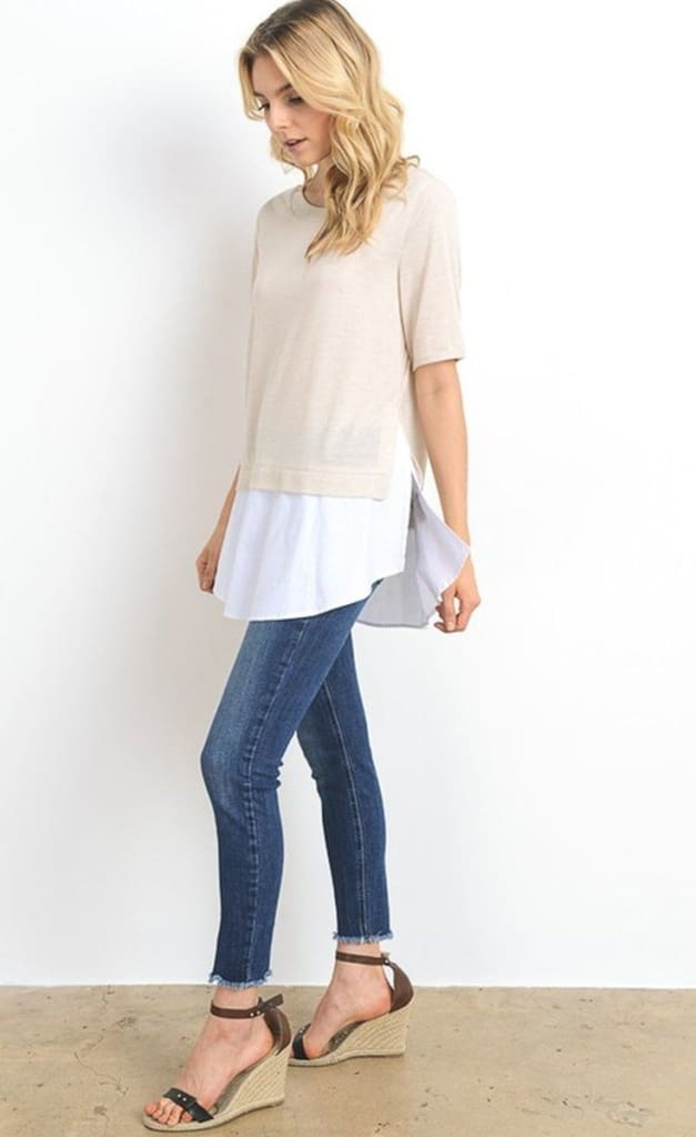 Alia Easy Everyday Layered Knit - Tops - Affordable Boutique Fashion