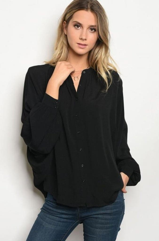 All Day Essentials Blouse | Black - Tops - Affordable Boutique Fashion