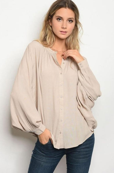 All Day Essentials Blouse |Taupe - Tops - Affordable Boutique Fashion