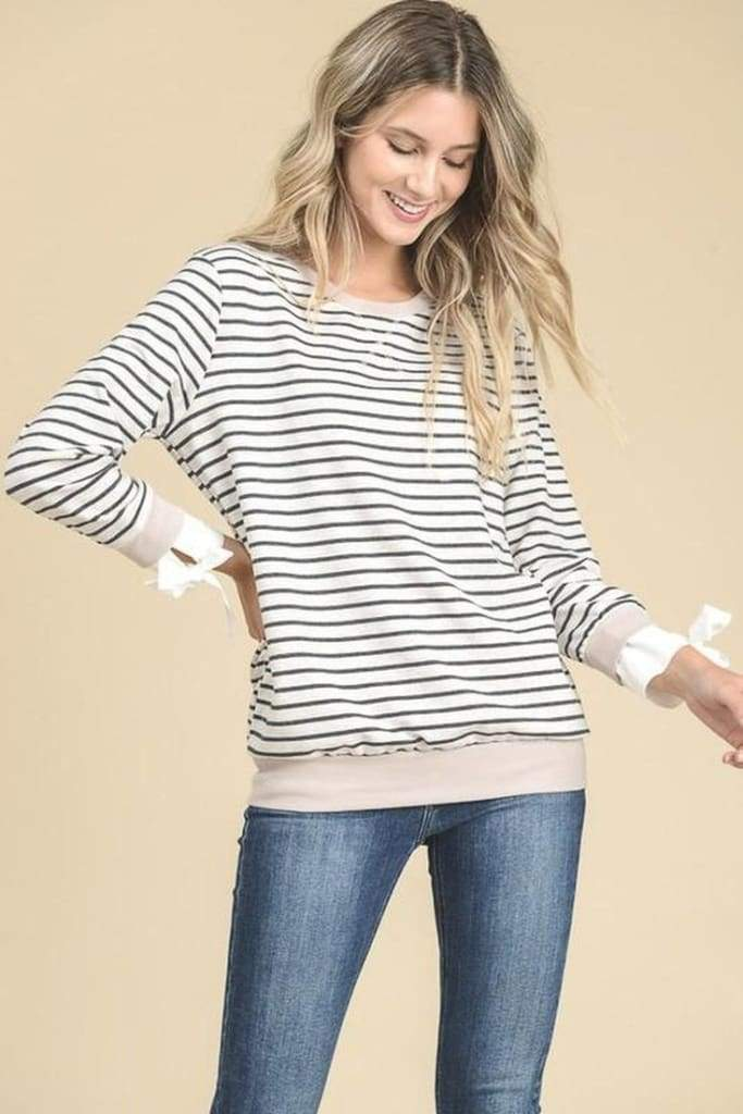 Andover Striped Pullover - Tops - Affordable Boutique Fashion