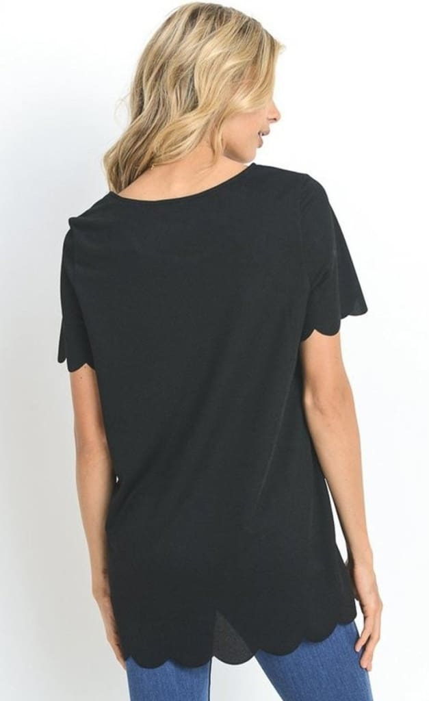 Annie Scallop Trim Blouse - Tops - Affordable Boutique Fashion