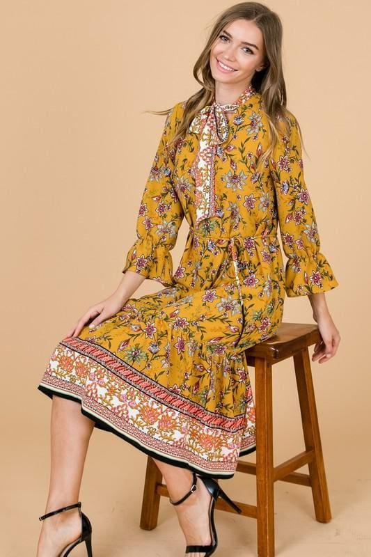 Arizona Sun Mustard Print Midi Dress - DRESSES - Affordable Boutique Fashion