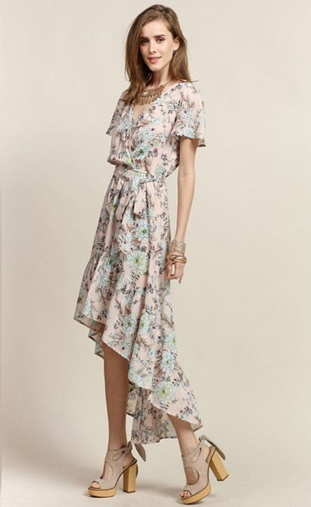 At First Blush Floral Hi-Low Maxi Dress - FINAL SALE - Affordable Boutique Fashion