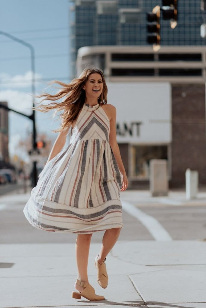 Avery Striped Midi Dress - DRESSES - Affordable Boutique Fashion