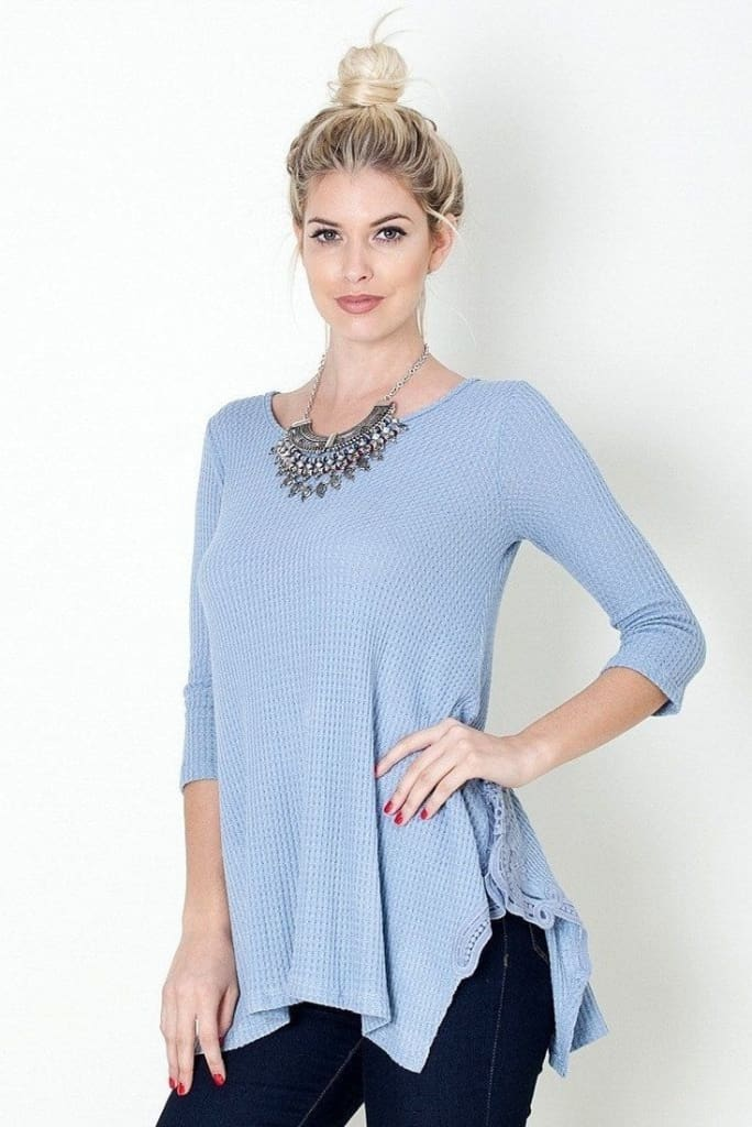 Back Roads Laced Rib Knit Top (More Colors.) -  - Affordable Boutique Fashion
