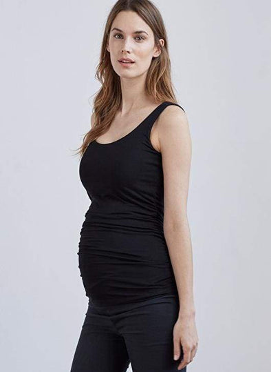 Baker Side Ruched Tank - Black - Tops - Affordable Boutique Fashion