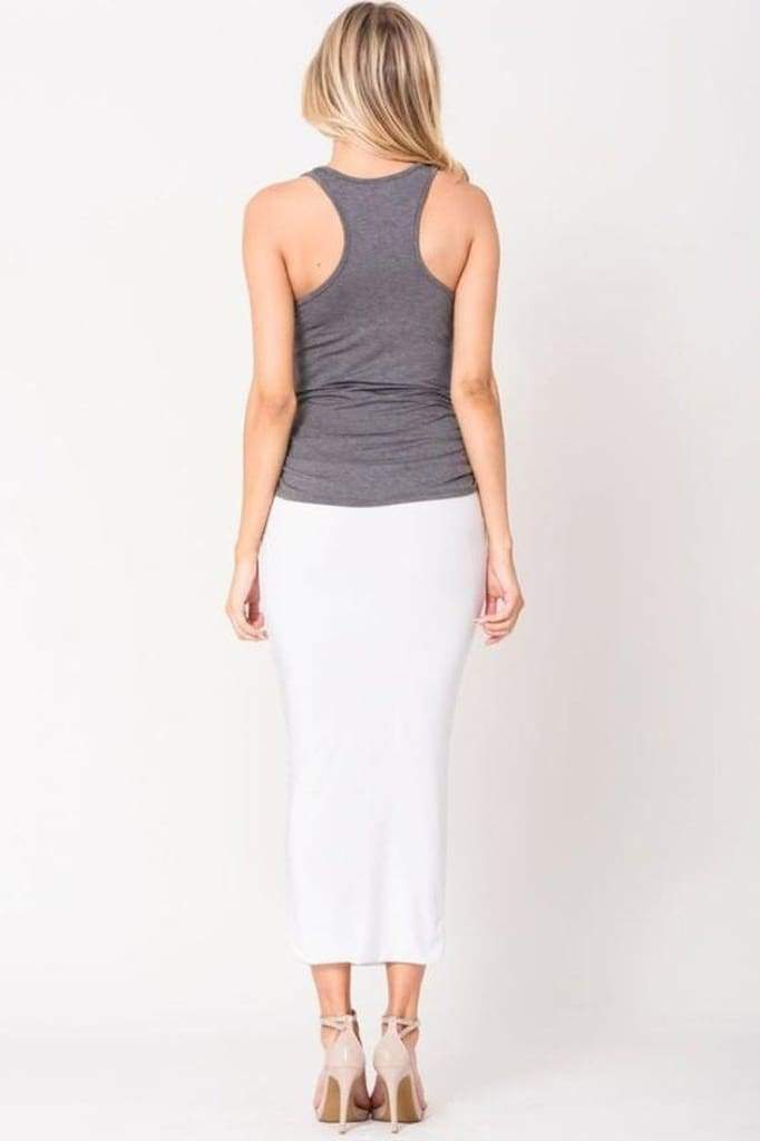Baker Side Ruched Tank - Charcoal - Tops - Affordable Boutique Fashion
