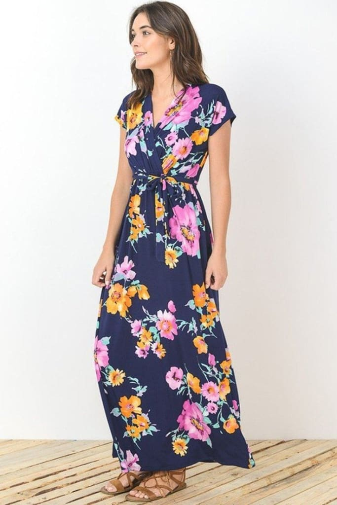 Baltimore Navy Floral Wrap Maxi Dress - DRESSES - Affordable Boutique Fashion