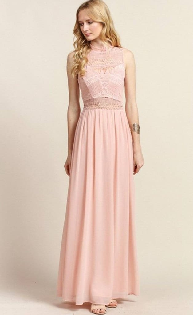 Barcelona Crochet Top Blush Maxi Dress - DRESSES - Affordable Boutique Fashion