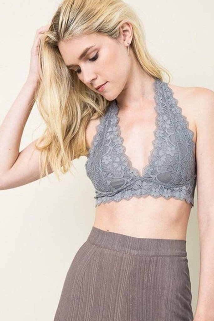 Barcelona Lace Gallon Halter Bralette - basics - Affordable Boutique Fashion