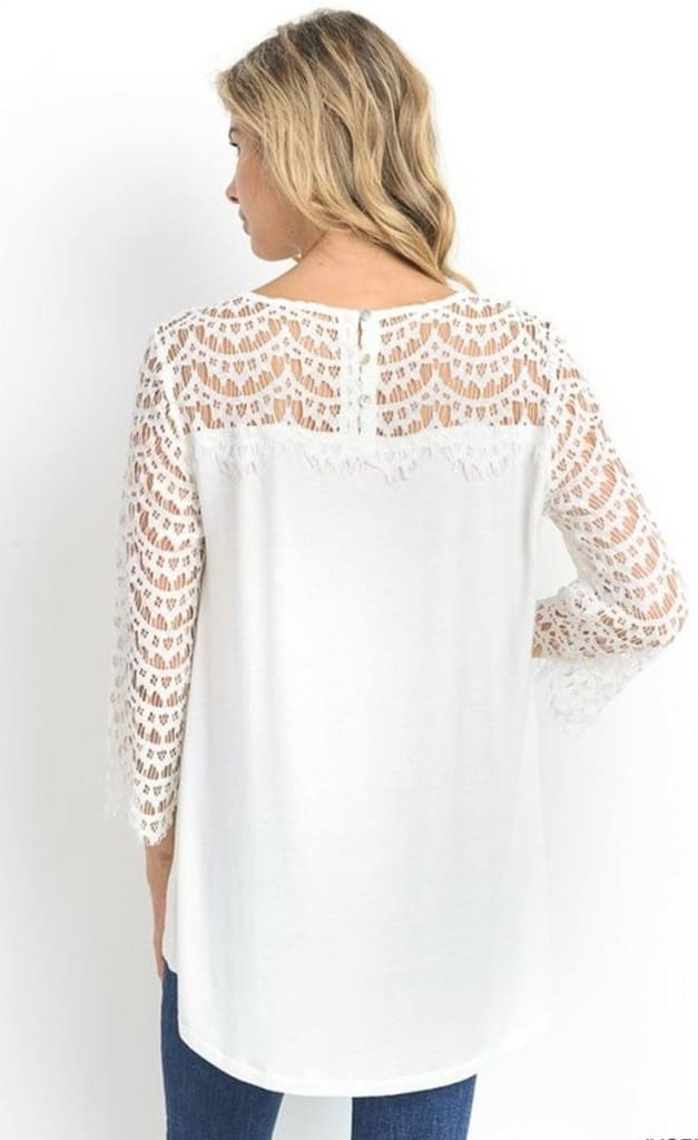 Baylee Lace Knit Top - Tops - Affordable Boutique Fashion
