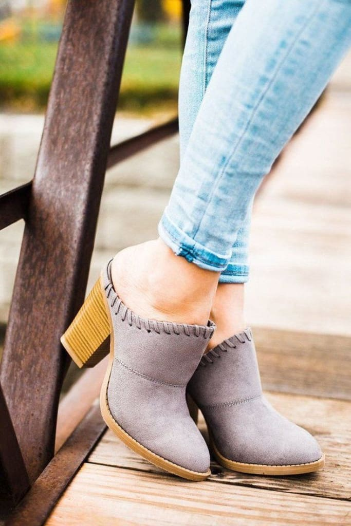 Bayside Grey Slide on Mules -  - Affordable Boutique Fashion