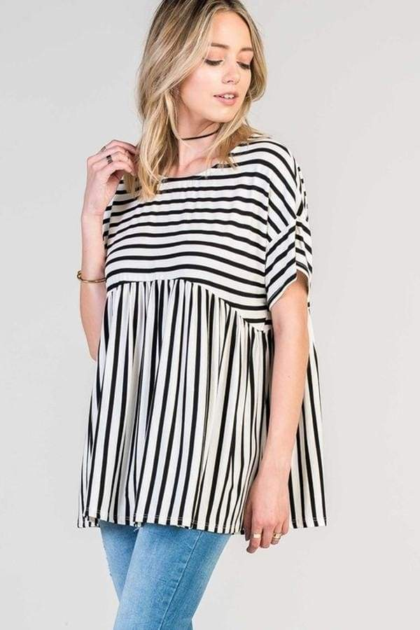 Beethoven Relaxed Striped Peplum Tunic - Shop Pretty Spring Dresses