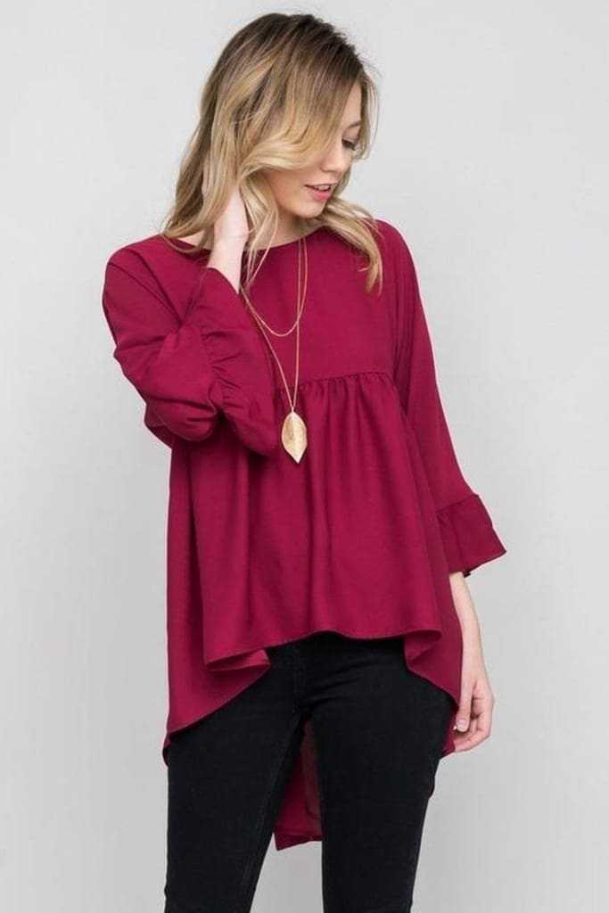 Belle Tunic Peplum | Burgundy - Tops - Affordable Boutique Fashion