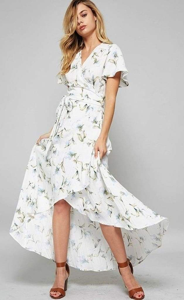 a2dfbea601 Belle White Floral Wrap Maxi Dress - DRESSES - Affordable Boutique Fashion.  Belle White Floral Wrap Maxi Dress - DRESSES - Affordable Boutique Fashion