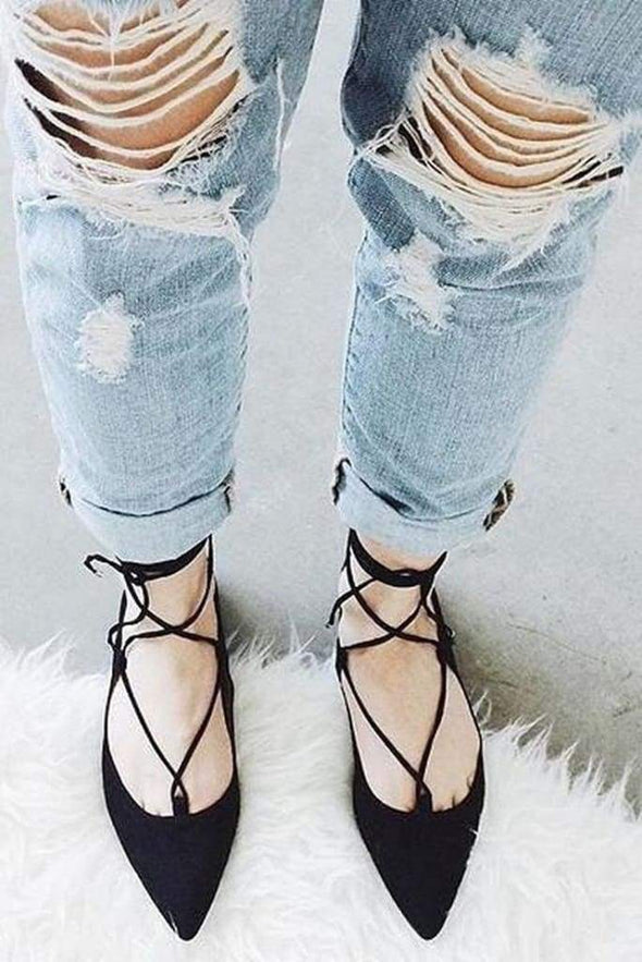 Bonnie Pointed Toe Lace Up Flats -  - Affordable Boutique Fashion