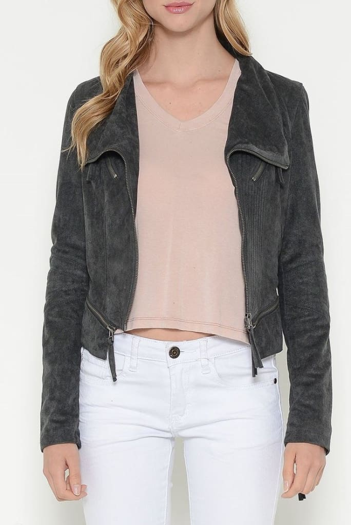 Bono Grey Suede Moto Jacket - SALE - Affordable Boutique Fashion