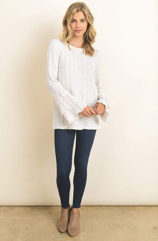 Brecken Cable Knit Ruffle Sweater - Tops - Affordable Boutique Fashion