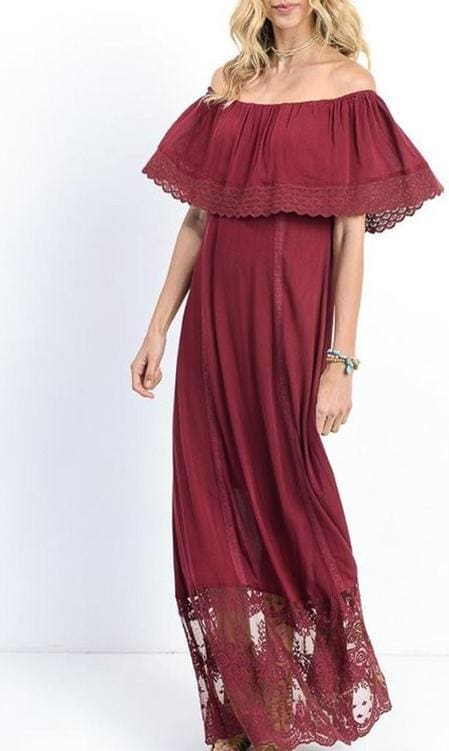 """Brooke"" Off Shoulder Maxi Dress - DRESSES - Affordable Boutique Fashion"