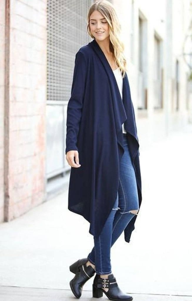 Cambridge Waterfall Cardigan | Navy - SALE - Affordable Boutique Fashion
