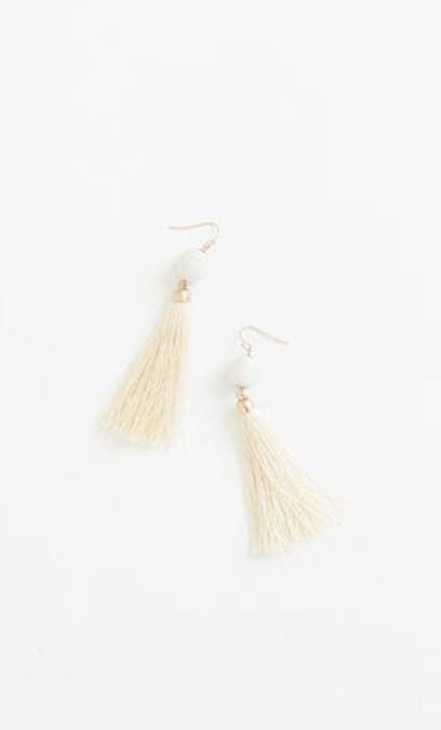 Camille Tassel & Bauble Cream Earrings -  - Affordable Boutique Fashion