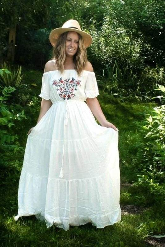 Cannes Bohemian Embroidered White Maxi Dress . - Dresses - Affordable Boutique Fashion