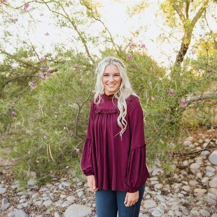 Canton Blouse - Burgundy - Tops - Affordable Boutique Fashion