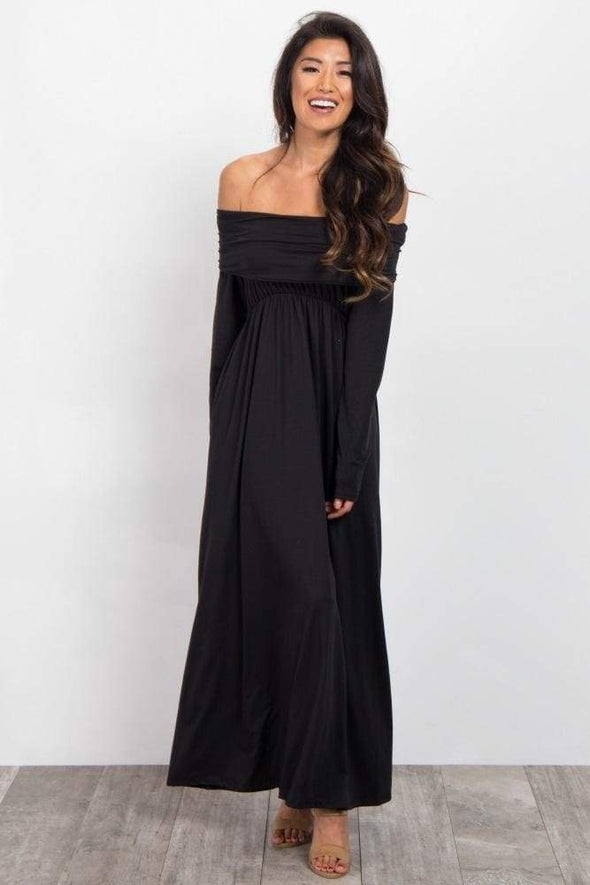 Canyon Run Off Shoulder Maternity Maxi Dress - DRESSES - Affordable Boutique Fashion