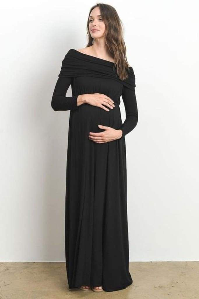 fe7b02eda7159 Canyon Run Off Shoulder Maternity Maxi Dress - DRESSES - Affordable  Boutique Fashion
