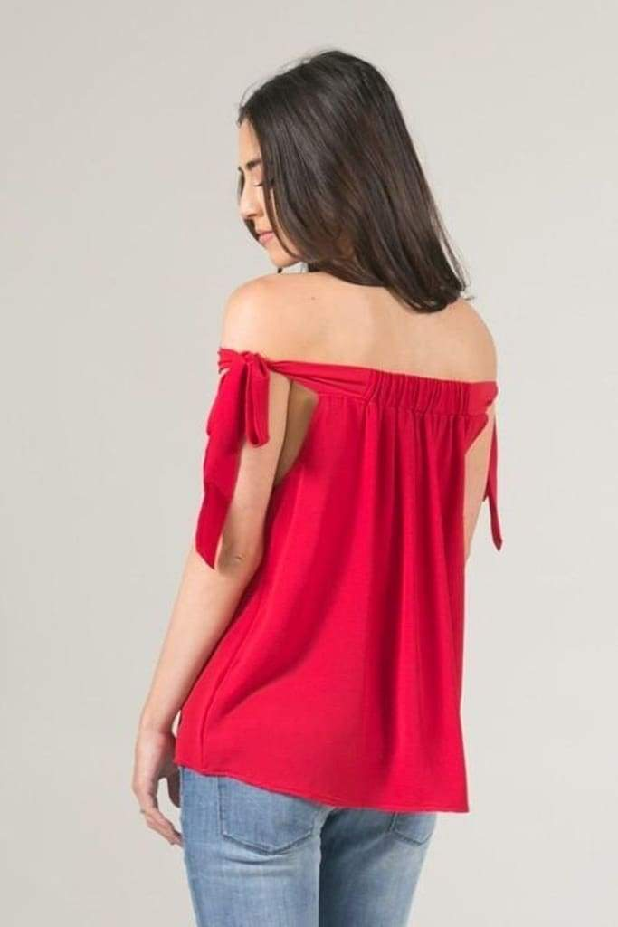 Cara Off Shoulder Bow Blouse - Tops - Affordable Boutique Fashion