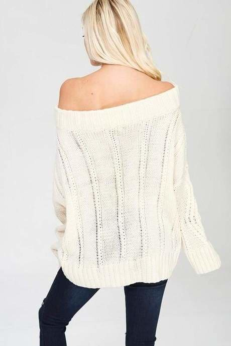 Caribu Off Shoulder Sweater - TOPS - Affordable Boutique Fashion