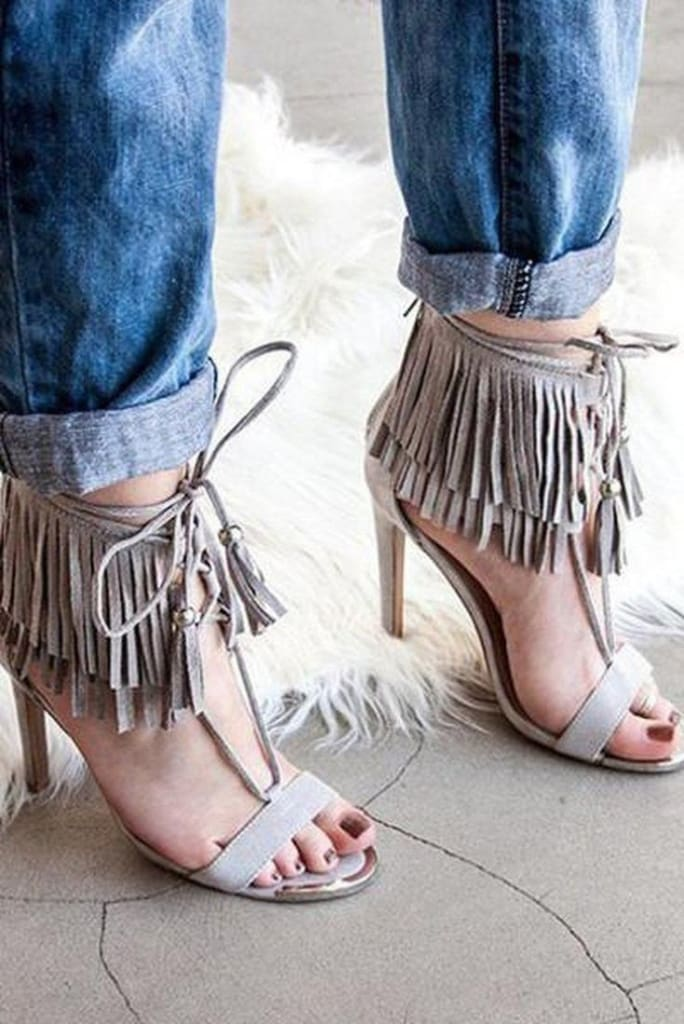 Carla Lace Up Fringe Heels . - FINAL SALE - Affordable Boutique Fashion