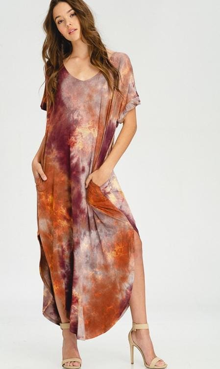 Carlita Tie-Dye T-Shirt Maxi Dress - DRESSES - Affordable Boutique Fashion