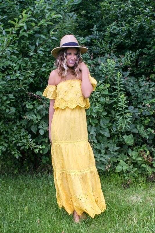 Carter Embroidered Eyelet Maxi Dress - Yellow . - DRESSES - Affordable Boutique Fashion