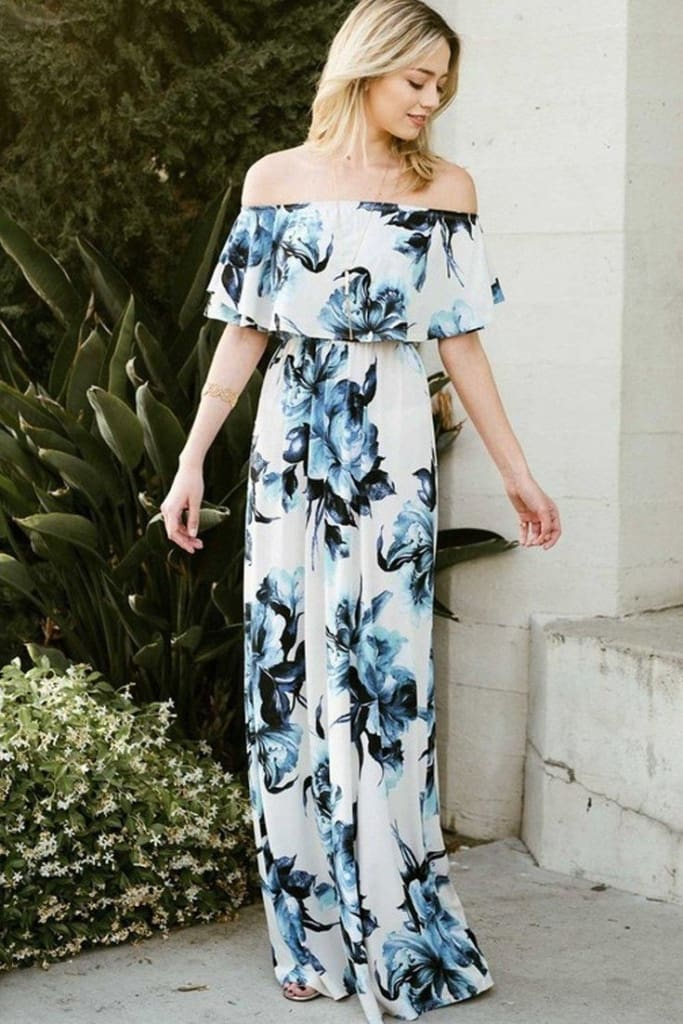 Cayman Off Shoulder Sky Floral Maxi Dress - DRESSES - Affordable Boutique Fashion