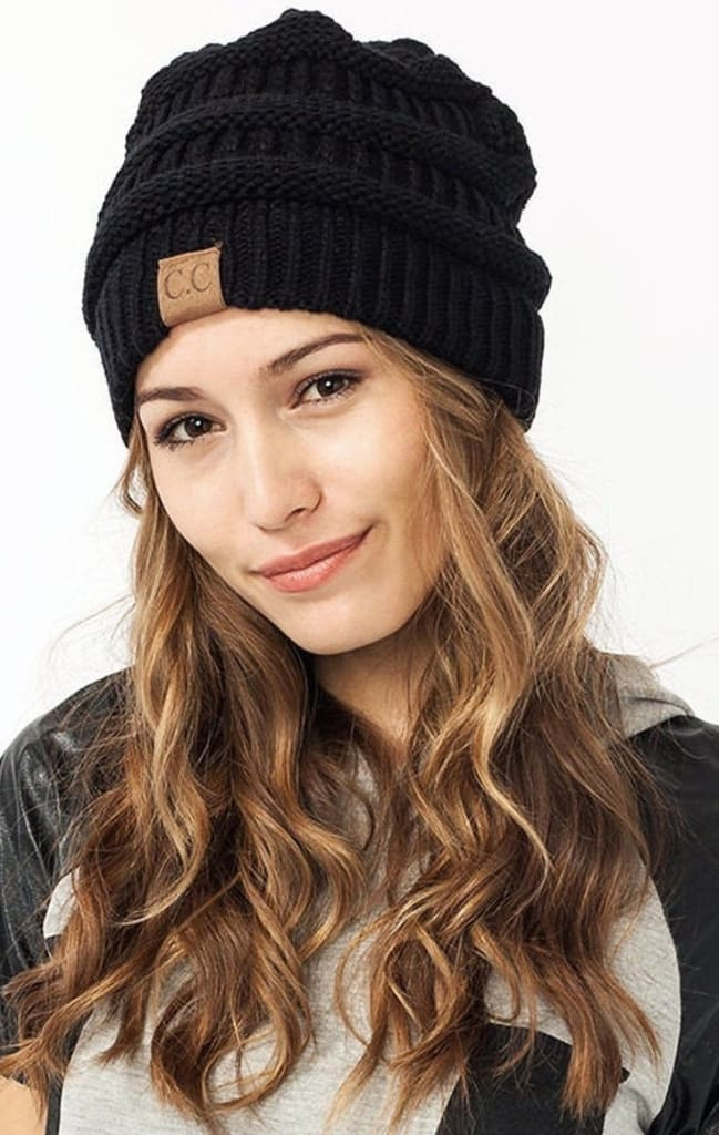 CC Black Luxe Knit Beanie - hats - Affordable Boutique Fashion